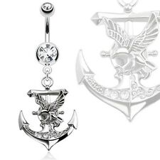 with Eagle Dangle Navel Ring 316L Surgical Steel Gemmed Anchor