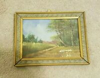 """VINTAGE 5"""" X 7""""OIL ON CANVAS LANDSCAPE PAINTING WITH WOOD FRAME. ARTIST SIGNED."""