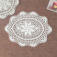 "4Pcs White Hand Crochet Doilies Cotton Table Runner Oval Dresser Scarves 10""x13"""