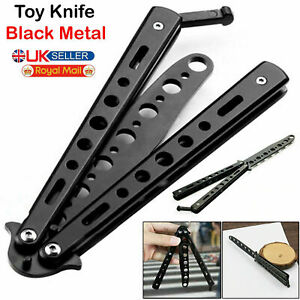 Butterfly Black Comb Toy Trainer Steel Balisong Practice Tool Sports Metal UK