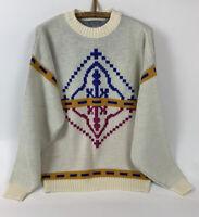 VTG Le Tigre Mens Sweater Pullover Cosby Grandpa Geometric Made In USA Size L