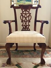 Mahogany Chinese Chippendale Carved Accent Chair