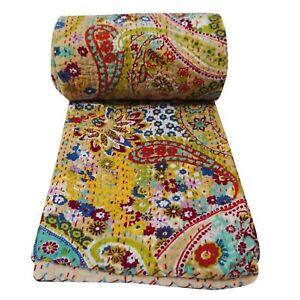 Twin Size Handmade Paisley Print Blanket Kantha Quilt Beige Vintage Bedspread