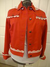 Unique and feminine...Ralph Lauren lace-trimmed red denim jean jacket l