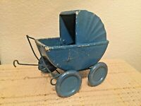 "Doll Baby Buggy, Pressed Wood, Light Medal Wheels Dollhouse Vintage 6.5""Lx4Wx7""H"