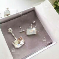 18k white gold plated made with SWAROVSKI crystal stud dangle ear jacket earring