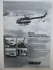 10/1975 PUB MBB HELICOPTERE BO 105 OFFSHORE MEDIVAC HELICOPTER ORIGINAL AD