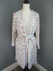 Carole Hochman Robe and Gown Set Cotton Medium White polka dot floral EUC