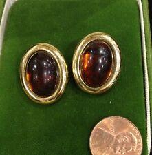 Vintage Tortoise Amber Color Cabachon Gold Tone Clip Earrings Plastic
