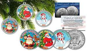 MERRY CHRISTMAS 2015 JFK Half Dollar 3-Coin Set Snowman & Santa Tree Ornaments