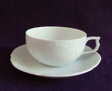 Rosenthal, 1 Teetasse + Untertasse, Sanssouci, Porzellan, rein weiß, Reliefdekor