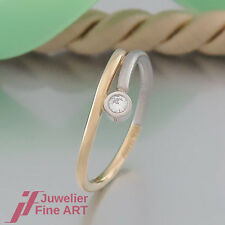 Ring mit 1 Brillant (Diamant) ca. 0,06ct - 950 Platin/750 Gelbgold