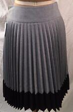 NWT H&M Women's Pleated Grey Skirt w/Black US Size 6  (EUR 36)