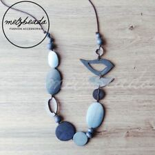 Blue Bird Oval Wooden Bead Necklace Fashion Women Long Eclectic