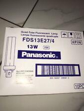 LOT OF 10 Genuine Panasonic FDS13E27/4 Quad tube fluorescent lamp 13w 2700k