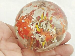 Large Vintage old Rare Glass Paper-weight Beautiful Floral Design Collectible W1