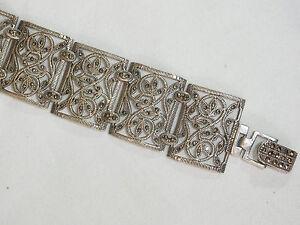 Breites Art Déco 925 Silberarmband mit Markasiten