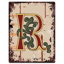 PP0526 Alphabet Medieval Initial Letter R Chic Sign Bar Shop Store Home Decor