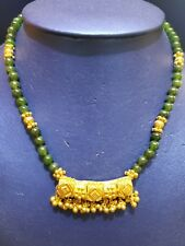 22k Yellow Gold Chain/necklace with green beads stones