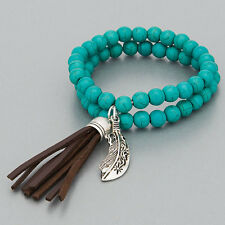 Antique Silver Charms Stretch Bracelet Turquoise Stone Bead Brown Tassel Metal