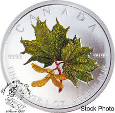 Canada 2002 $5 Green Coloured Silver Maple Leaf Coin Spring