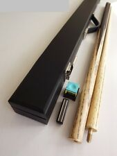 """Quality 2 Piece Split 57"""" ASH Pool or Snooker Cue with Hard Case & Chalk - GIFT"""
