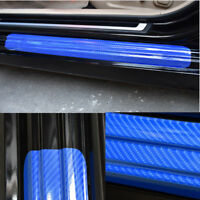 4x Blue Accessories Carbon Fiber Car Scuff Plate Door Sill 4D Sticker Protector