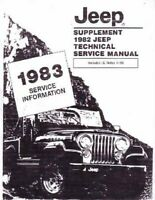 OEM Repair Maintenance Shop Manual Bound for Jeep All Models - Supp To 1982 1983