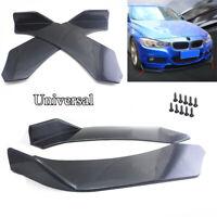 2Pcs Universal Car Bumper Splitter Lip Body Protector Diffuser Winglets Black