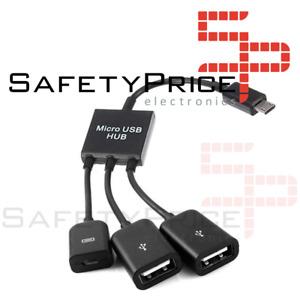 Cable Adaptador Micro USB Host OTG HUB a 2 USB Hembra Smartphone Tablet Android