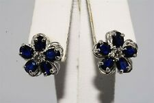 2.20CT NATURAL OVAL/ROUND CUT SAPPHIRE & DIAMOND FLOWER EARRINGS 14K WHITE GOLD