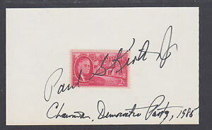 Paul G. Kirk, Jr., Chairman Democratic National Committee, signed 3x5 card. DNC