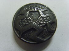 1800s Antique collector metal button abstract Halloween trapped ghost face 49736