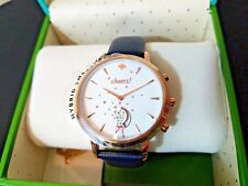 Womens Kate Spade Watch Hybrid Smart Watch Gold Tone Navy Blue Leather $250