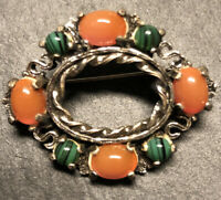 Vintage Signed Miracle Round Glass Malachite Carneli Celtic Scottish Brooch Pin