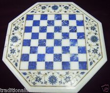 "15"" Marble Coffee Center Chess Table Top Rare Lapis Inlay Beautiful Gifts Decor"