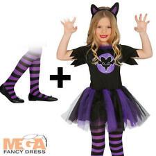 Batty Bat Girls Fancy Dress + Tights Halloween Animal Kids Costume Age 10-12