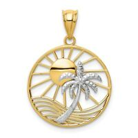 14K Two Tone Gold Polished Textured Sun and Palm Tree in Round Frame Pendant