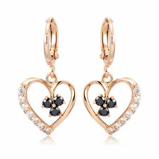 New 18K Yellow Gold Filled Black & Clear CZ Accent Heart Dangle Drop Earrings