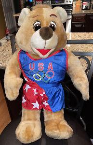 """GIANT Vintage Plush Ace Novelty 1995 - 1996 USA Olympic Team Teddy Bear 21"""" Tall"""