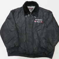 Avirex Mens 2XL Coat Bomber Flight Jacket Black Fur Collar Insulated Nylon