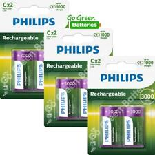 6 x Philips C Size 3000 mAh Rechargeable Batteries LR14 HR14 BABY NiMH