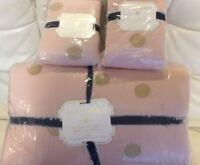 Pottery Barn Teen Emily & Meritt The Gold Dot King Quilt & 2 Shams  Pink NWT!