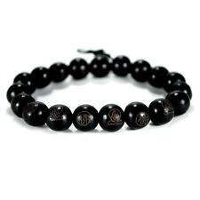 BLACK WOOD WRIST MALA 10mm Prayer Bead Bracelet Stretch Carved Buddha Jewelry