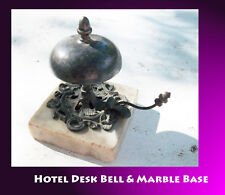 Hotel Desk Bell decorative with clapper Marble Base Very Inviting and a rarity.