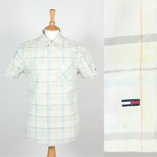 TOMMY HILFIGER MENS SHIRT PASTEL CHECK PLAID PATTERN GREEN CASUAL SHORT SLEEVE S