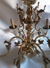 Large Antique Victorian 6 Lights Flemish Dutch Style Chandelier