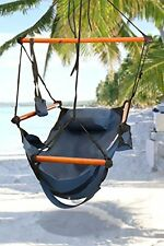 Indoor/Outdoor Hanging Hammock Chair Air/Sky Swing Chair Solid Wood 250 lbs Blue