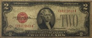 1928 D Red Seal Two Dollar United States Note $2