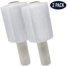 """Shrink wrap Stretch Film Clear 2 Rolls 5""""x1000 80 Gauge with handle heavy duty"""